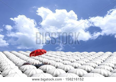 3D Rendering : Illustartion Of Red Umbrella Floating Above From The Crowd Of Many White Umbrellas Ag