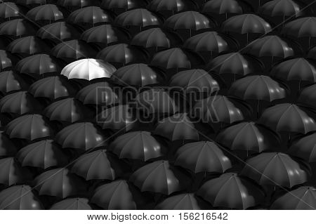 3D Rendering : Illustartion Of White Umbrella Stand Out From The Crowd Of Many Black And White Umbre