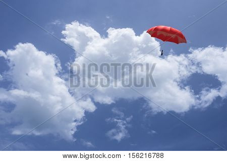 3D Rendering : Illustartion Of Red Umbrella Floating Above Against Blue Sky And Clouds. Business, Le