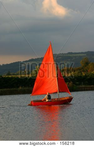 Orange Sail Boat