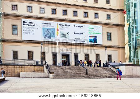 MADRID, SPAIN - OCTOBER 26, 2015 :View on gate to the Reina Sofia Museum, dedicated to the exhibition of modern and contemporary art