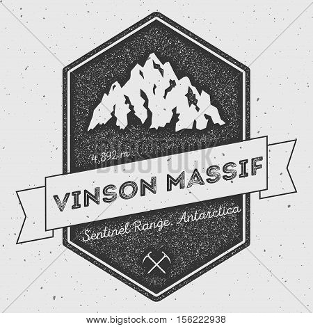 Vinson Massif In Sentinel Range, Antarctica Outdoor Adventure Logo. Pennant Expedition Vector Insign