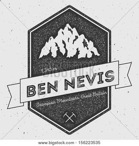Ben Nevis In Grampian Mountains, Great Britain Outdoor Adventure Logo. Pennant Expedition Vector Ins