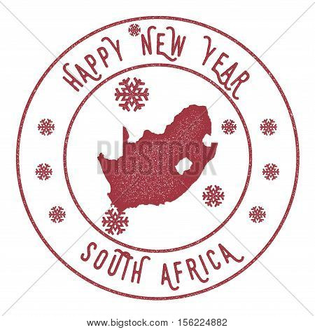 Retro Happy New Year South Africa Stamp. Stylised Rubber Stamp With County Map And Happy New Year Te