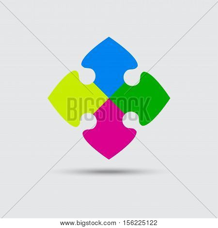 Puzzle Four Color Piece Sign Icon. Strategy Symbol. Puzzle Piece Button with Shadow. Modern UI website Navigation. Vector.