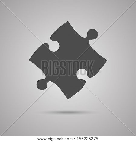 Puzzle One Grey Piece Sign Icon. Strategy Symbol. Puzzle Piece Button with Shadow. Modern UI website Navigation. Vector.
