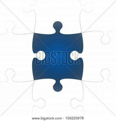Vector Background made from White Puzzle Pieces with One Blue Missing. Piece Flat Puzzle Infographic Presentation. Step Circle Business. One Section Compare Service Banner.