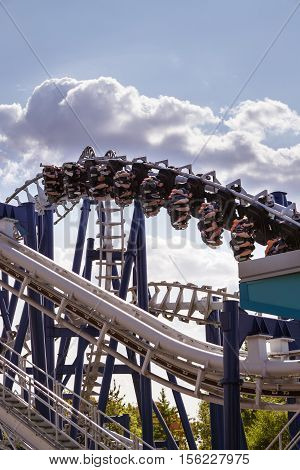 Castelnuovo Del Garda Italy - September 8 2015: Roller coaster at Gardaland Theme Park in Castelnuovo Del Garda Italy. Three million people visit the park on a yearly basis.