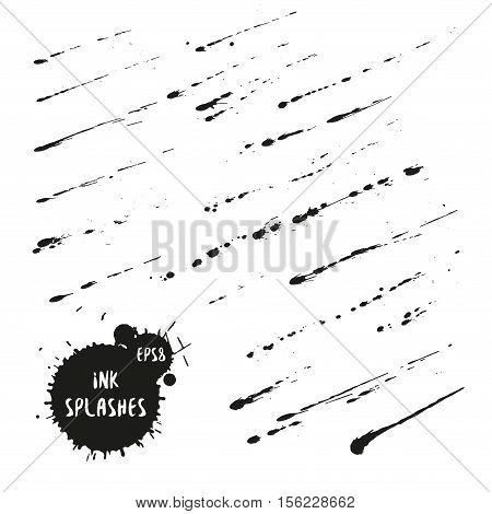 Collection Of Ink Spatter Blots, Hand Made With Black Indian Ink. Black Expressive Blots Vector Illu