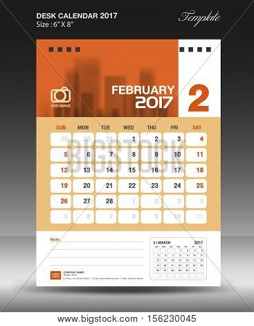 February Desk calendar 2017, Orange Calendar 2017, vertical calendar 2017 size 6 x 8 inch vector template