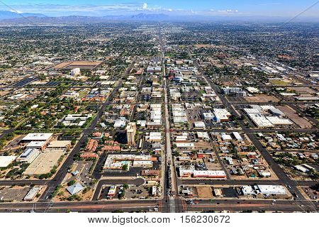 Above Main Street in Mesa Arizona looking east at the Superstition Mountains in the distance