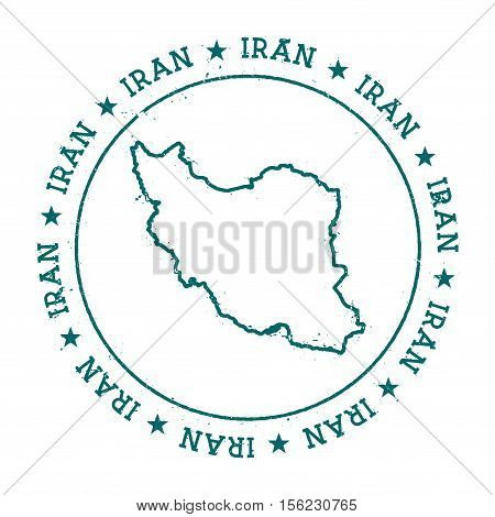Iran, Islamic Republic Of Vector Map.. Retro Vintage Insignia With Country Map.. Distressed Visa Sta