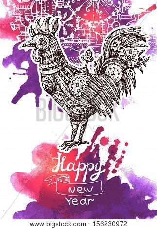 Steampunk card. Retro illustration with mechanical cock. Vintage invitation.Gear rooster in a sketch style. Stylized vector illustration. Mechanical creature for tattoo design.  Symbol of year 2017