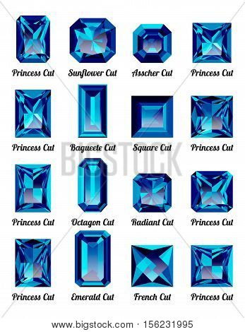 Set of realistic blue amethysts with rectangle cuts isolated on white background. Jewel and jewelry. Colorful gems and gemstones. Princess sunflower asscher baguette square octagon radiant