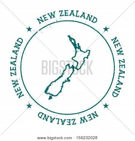 New Zealand Vector Map. Retro Vintage Insignia With Country Map. Distressed Visa Stamp With New Zeal