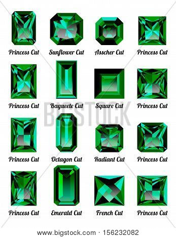Set of realistic green emeralds with rectangle cuts isolated on white background. Jewel and jewelry. Colorful gems and gemstones. Princess sunflower asscher baguette square octagon radiant