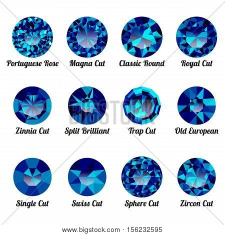 Set of realistic blue amethysts with round cuts isolated on white background. Jewel and jewelry. Colorful gems and gemstones. Magna classic round royal zinnia trap single swiss sphere zircon