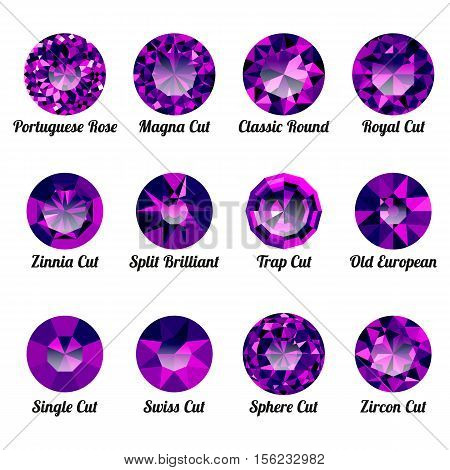 Set of realistic purple amethysts with round cuts isolated on white background. Jewel and jewelry. Colorful gems and gemstones. Magna classic round royal zinnia trap single swiss sphere zircon