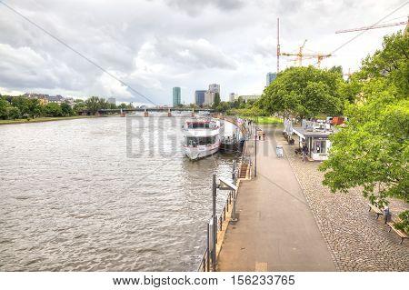 FRANKFURT AM MAIN GERMANY - May 07.2014: City landscape. Main river embankment