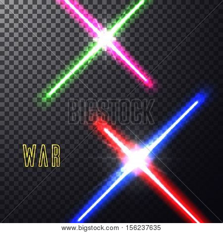 Realistic bright  laser halogen beams set. Crossed light swords on isolated transparent black background. Weapon futuristic from war. Vector illustration, design elements for your projects