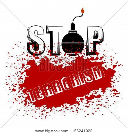 Bomb Icon on Red Grunge Background. Stop Terrorism Banner.