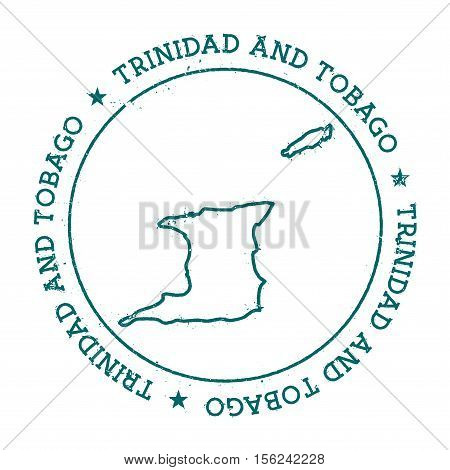 Trinidad And Tobago Vector Map. Retro Vintage Insignia With Country Map. Distressed Visa Stamp With