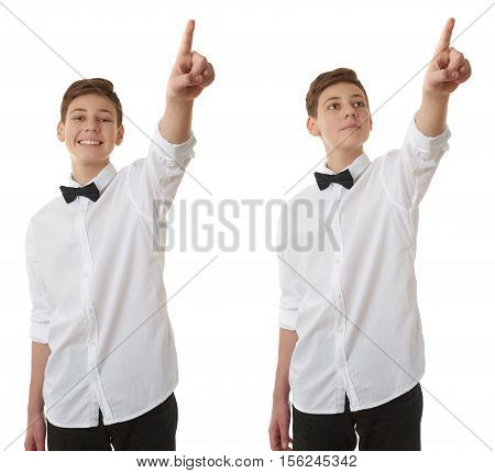 Set of cute teenager boy in white shirt and black bow tie pointing up side over white isolated background, half body