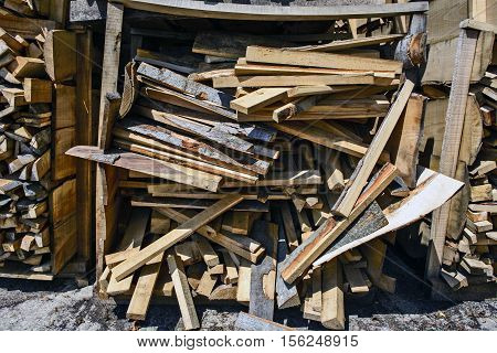 Wood at the depot cut the logs and ready for sale.