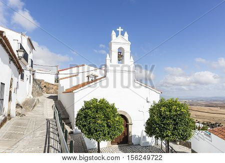 San Antonio white hermitage in Magacela town, Badajoz, Spain