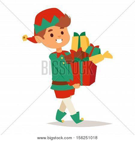 Santa Claus kids cartoon elf helper vector illustration. Santa Claus elf helper children. Santa helper traditional costume isolated on background. Santa elf helper christmas kid