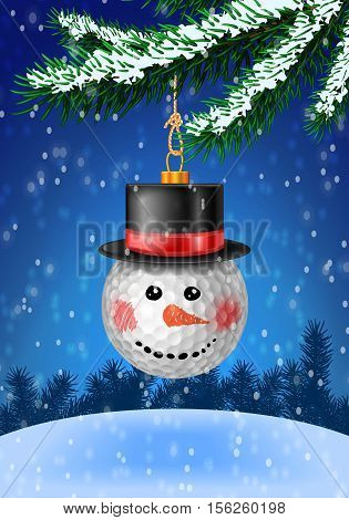 Golf ball snowman head christmas bauble on christmas tree with snow on evergreen branches. Vector illustration on blue background with snow