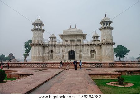 Agra, India - January 8, 2012: Itmad-Ud-Daulah's tomb in Agra Uttar Pradesh India. Also known as the Jewel Box or the Baby Taj.