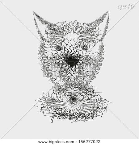 Dog friend pattern graphics Design style sketch writer handmade tattoo line mammal ears eyes nose portrait collar text background eps10 vector illustration Stock