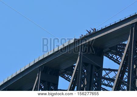 People Climb On Sydney Harbour Bridge In Sydney Australia