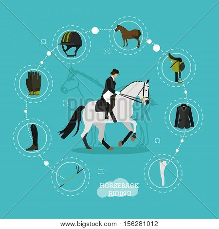 Vector concept illustration on horse riding theme with set icons, whip, jockey boots, gloves and helmet, horse, saddle and equipment. Equestrian sport. Flat design.