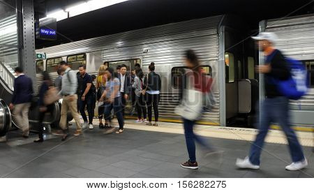 Passengers Get Off Sydney Trains At Town Hall Railway Station In Sydney, Australia.