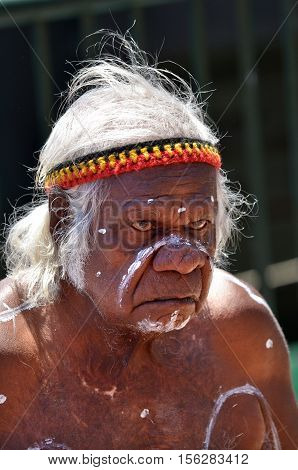 Sydney Australia - OCT 23 2016:An old Aboriginal Indigenous Australian man portrait.In 2012 the estimated life expectancy at birth for Aboriginal and Torres Strait Islander males was 69.1 years.