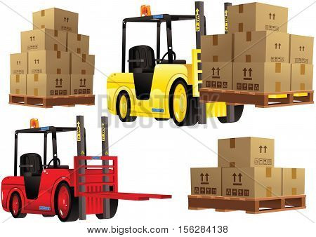 An image of a forklift truck loading a wooden palette.