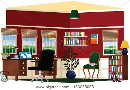 A cutaway illustration of a comfortable home office or study.