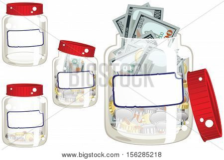 Four drawings of a money saving jar. One empty, one full, and two partially full.
