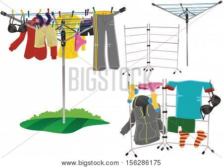 Some illustrations of clothes drying on various drying racks.
