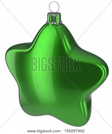 Christmas ball star shaped green hanging decoration adornment New Year's Eve bauble.  3d illustration