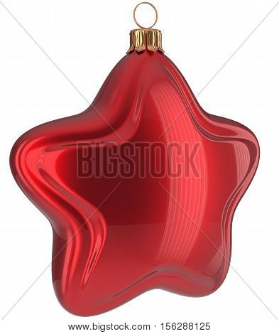 Christmas star shaped Merry Xmas ball red hanging decoration adornment New Year's Eve bauble. 3d illustration