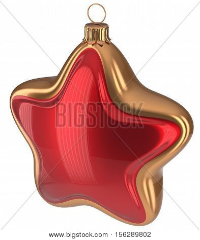 Christmas ball red golden star shaped hanging decoration adornment New Year's Eve bauble. Happy Merry Xmas greeting card design element traditional wintertime holidays decor ornament. 3d illustration