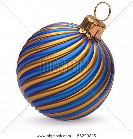 Christmas ball New Year's Eve decoration blue orange shiny twisted stripes bauble wintertime hanging adornment souvenir. Traditional ornament happy Merry Xmas winter holidays symbol. 3d illustration