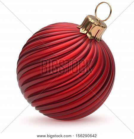 Christmas ball red New Year's Eve decoration hanging bauble wintertime adornment twisted stripes shiny souvenir closeup. Happy Merry Xmas traditional ornament winter holidays symbol. 3d illustration