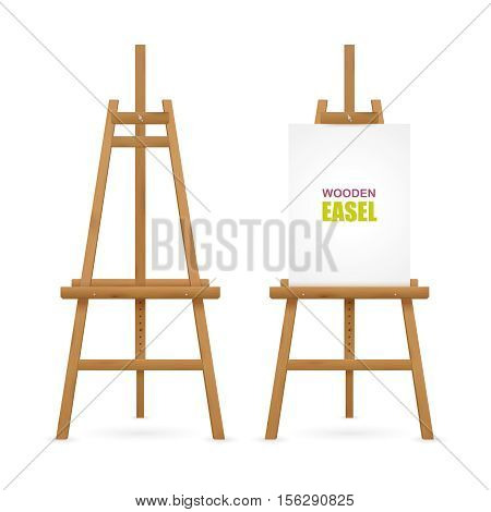 Wooden artist easel set with and without canvas isolated on white background vector illustration