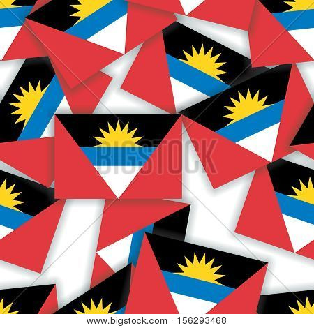 Antigua And Barbuda - Seamless Pattern Collage Of Flags With Shadows On A White Background