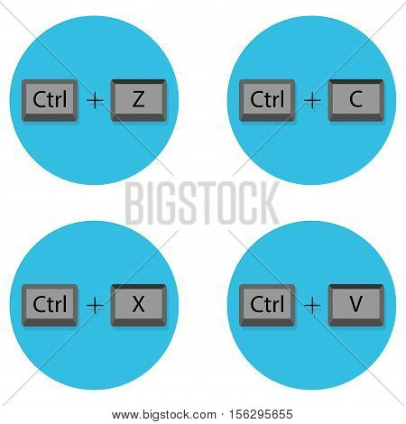Combination of keyboard buttons. Cancel and cut shortcuts and paste C and ctrl shortcut keyboard vector illustration