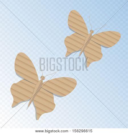Handmade cardboard butterfly on light heavenly background. Vector butterfly illustration.